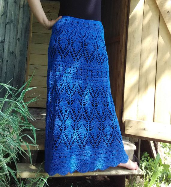 MADE TO ORDER Blue crochet skirt. Handmade elegant  skirt.  Mermaid crochet skirt.