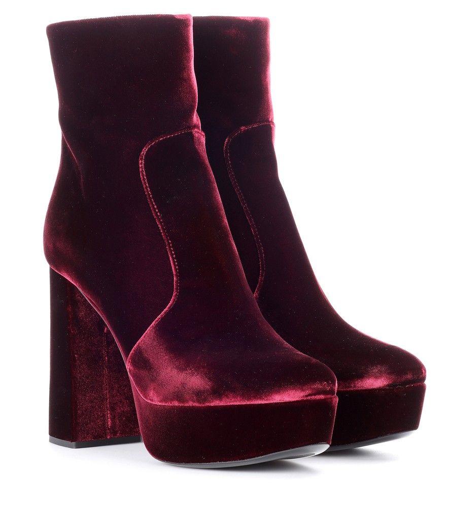 Prada - Velvet plateau ankle boots