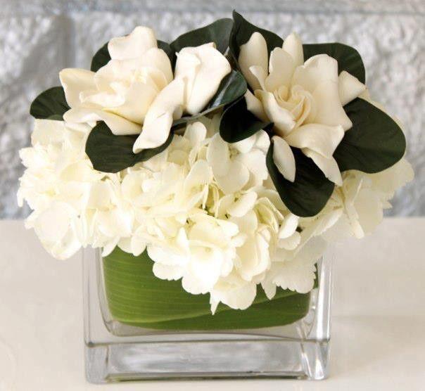 Gardenia And Hydrangea White Floral Arrangement Wedding Flowers
