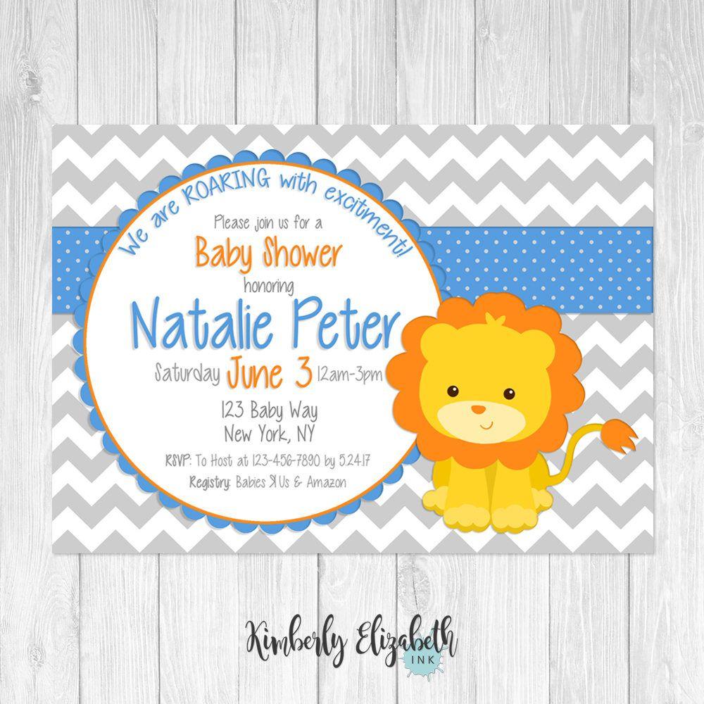 Lion Baby Shower Invitation, Lion Baby Shower, Digital Invitation ...