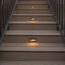 Solar deck lights stair recessed riser led light by trex for Solar lights for patio steps