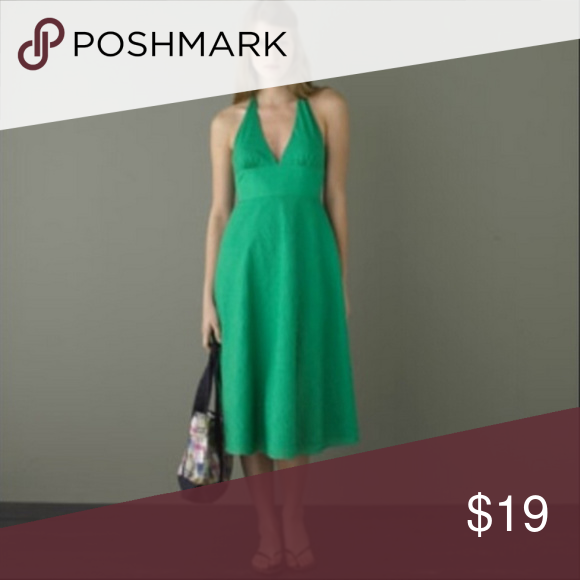 J Crew green seersucker halter dress