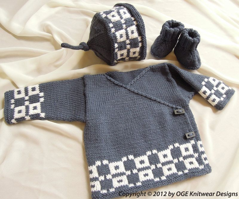 Baby Fair Isle Kimono Top, Hat and Boots P017 | Chaleco niño, Bebe y ...
