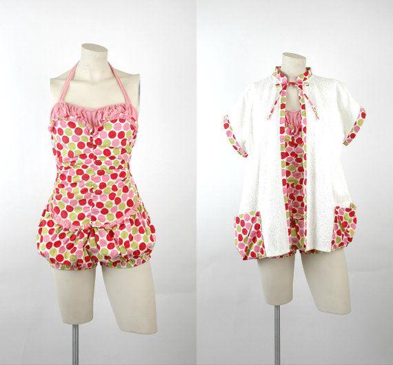c3a19f56d071a 1940s One Piece Swimsuit (and cover up)   Vintage Juliet Original Retro  Swimsuit