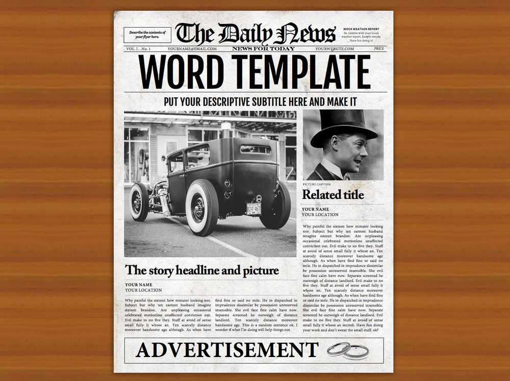1 Page Newspaper Template Microsoft Word 85x11 Inch Pinterest