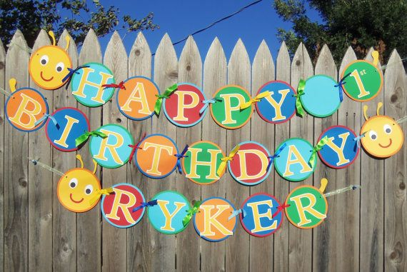 MADE TO ORDER Caterpillar Happy Birthday Banner by CutieBugShop