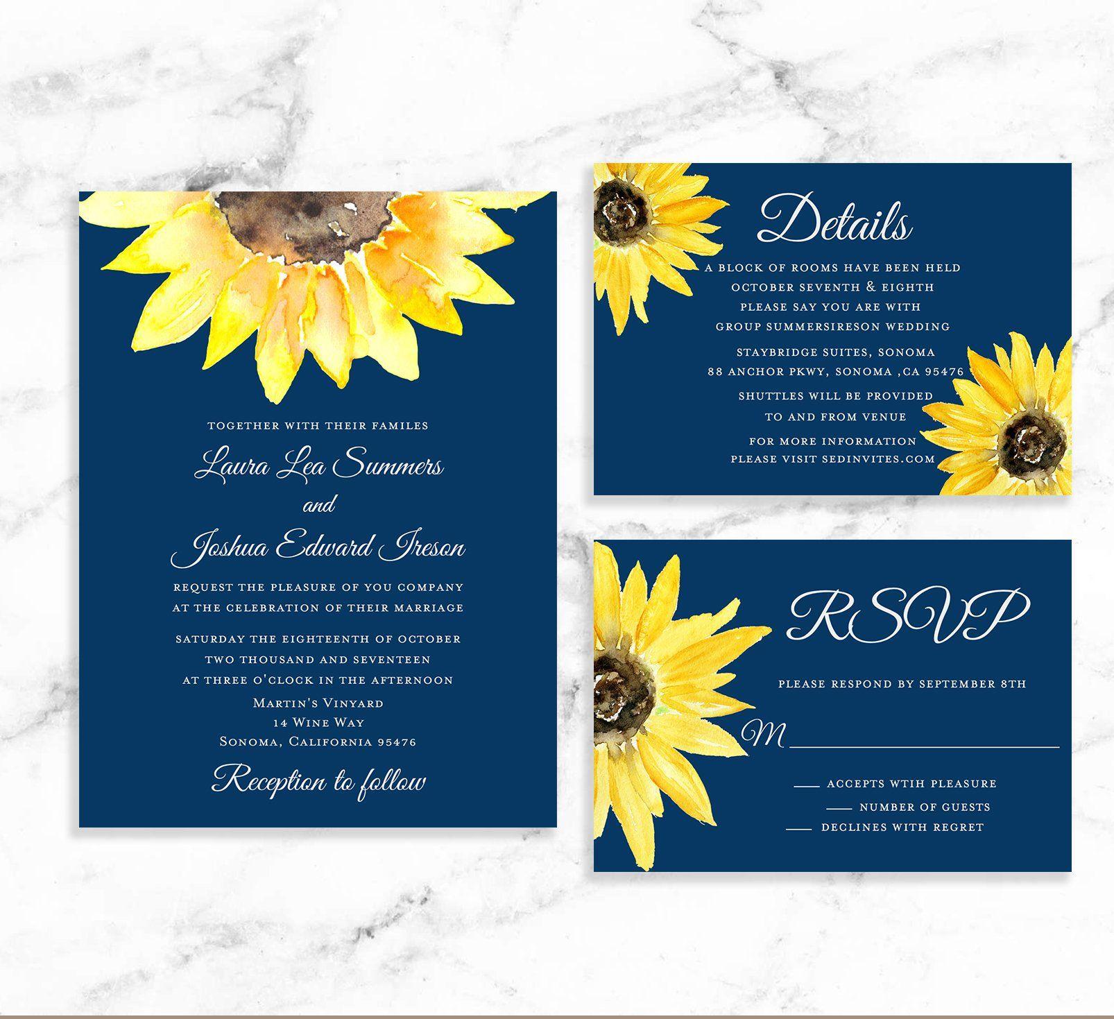 Navy Sunflower Wedding Invitation Suite Printable