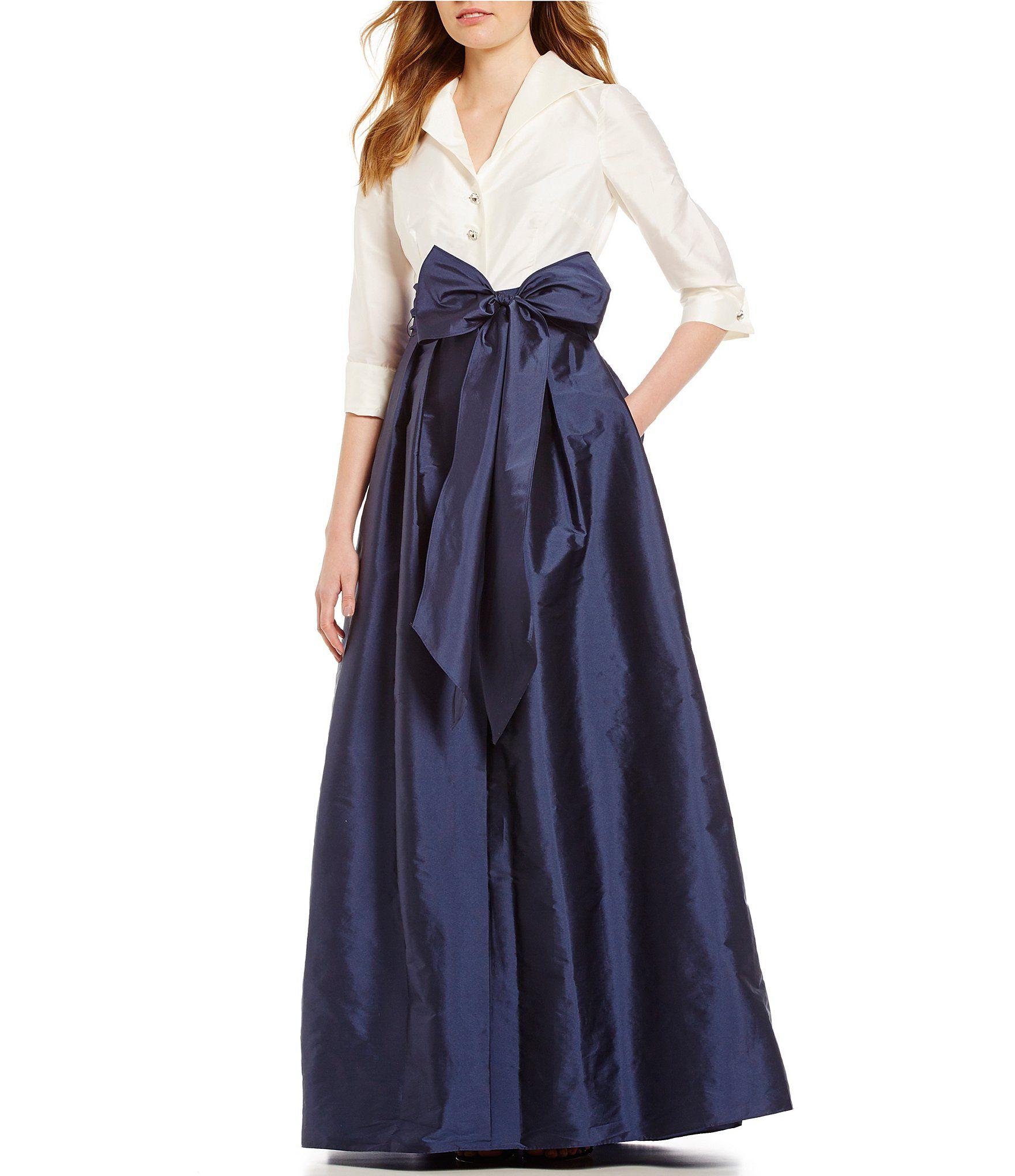 Adrianna Papell  Black Ivory Blouse Taffeta Ball Gown sz 4 Long Sleeve Modest