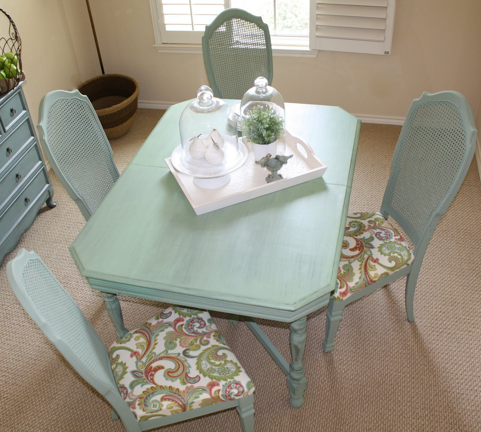 Old farm table and cane back chairs refinished in a Sea Glass ...