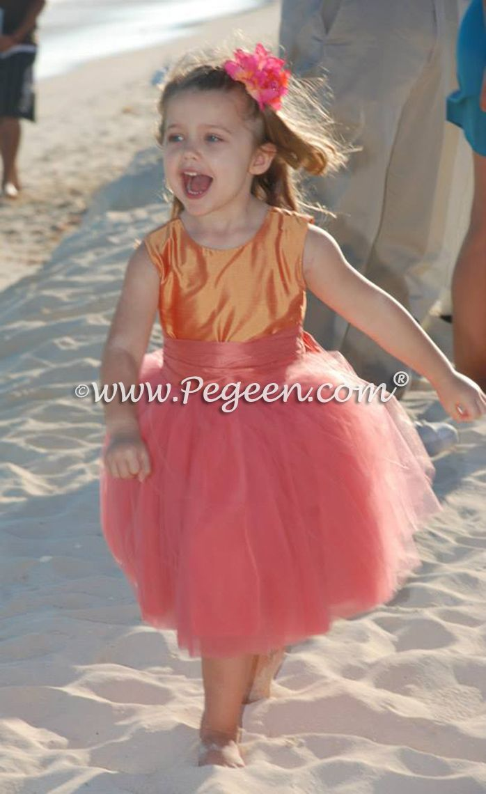 Mango, carrot, orange, coral, pink flower girl dresses in tulle by ...