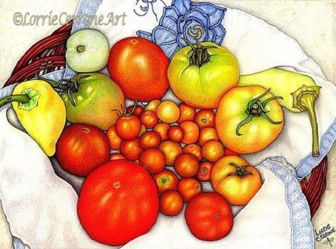 """""""Tomatoes in a Basket"""" by Lorrie Cerrone. Prints available in many sizes at http://lorrie-cerrone.pixels.com. Customize your print by choosing your mat and frame. Arrives ready to hang."""