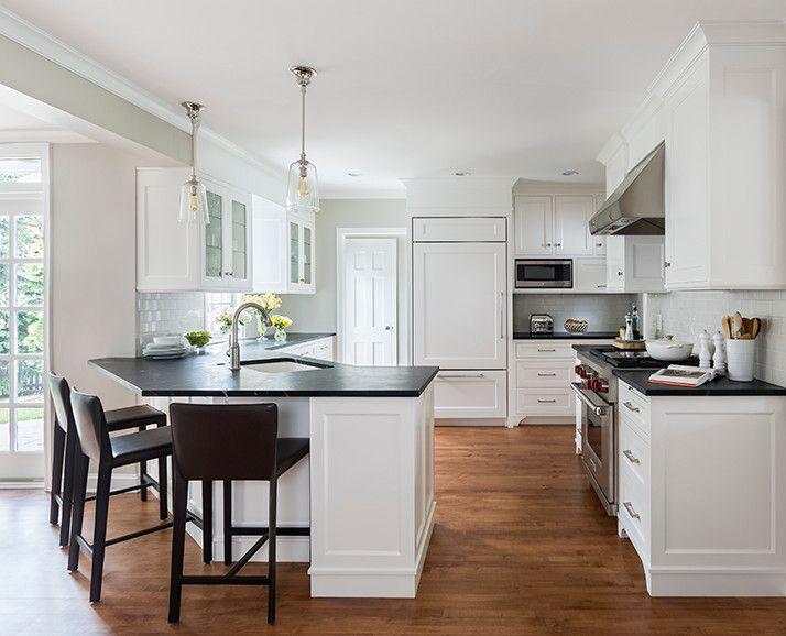 Stunning Kitchen With Angled Peninsula