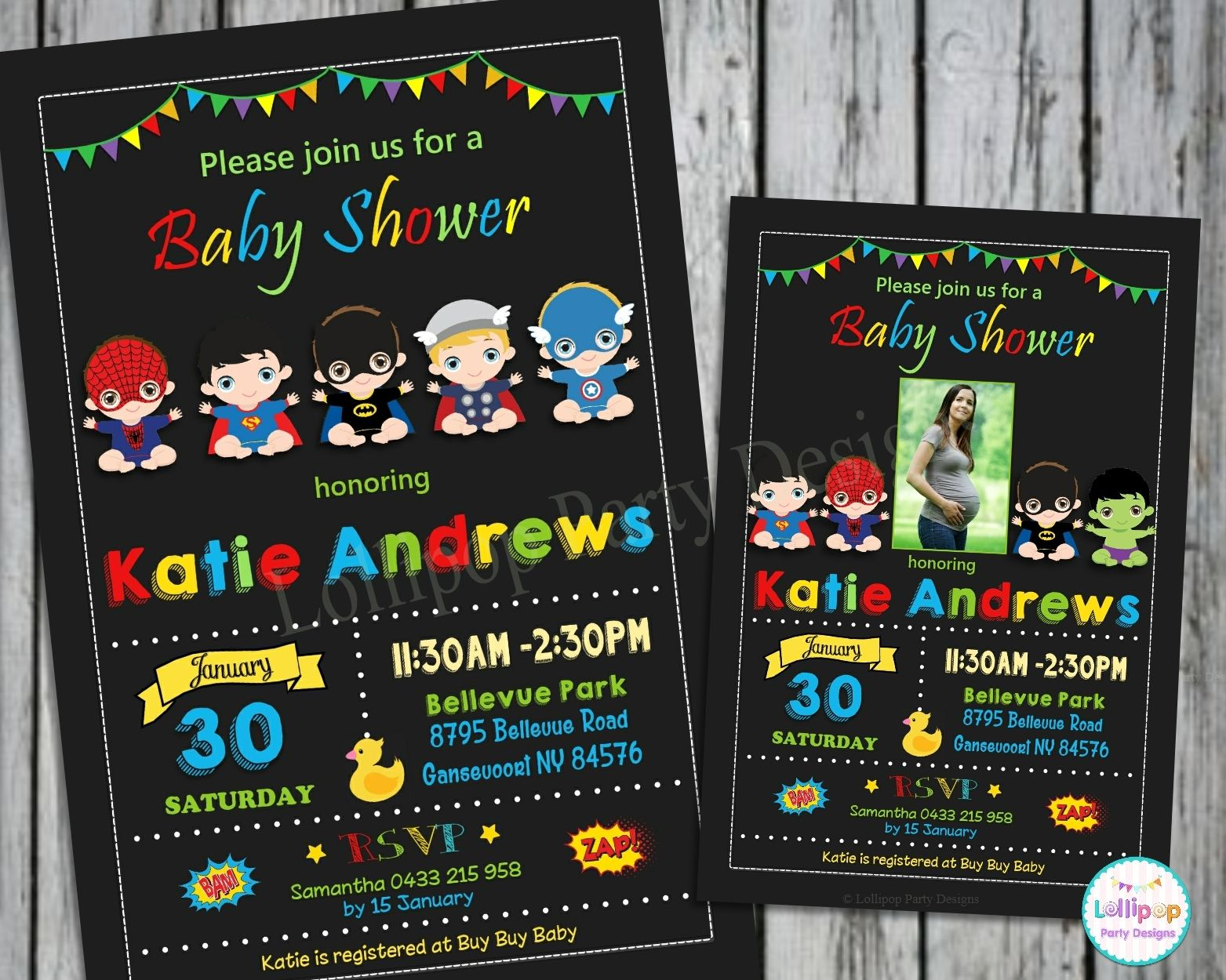 Shop For Affordable Printed Superhero Baby Shower Personalised Invitations