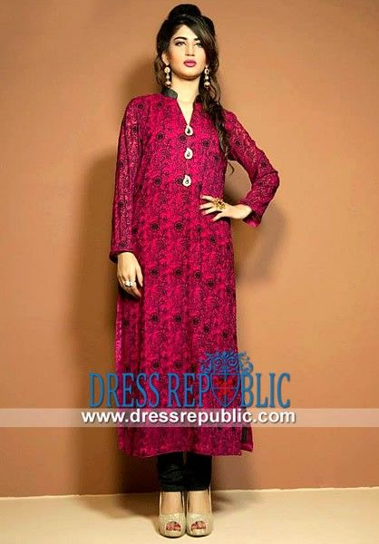 332a2ca03c Raspberry Full-length Sleeve Long Kurti Embroidered Kurti Tops Designs in  Pink By Cimyra. Find this Pin and more on Casual Dresses by DressRepublic .com.