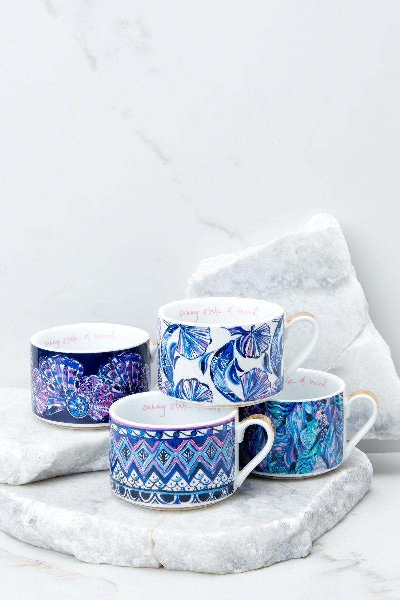 Lilly pulitzer blue drinkware cappuccino mug set home
