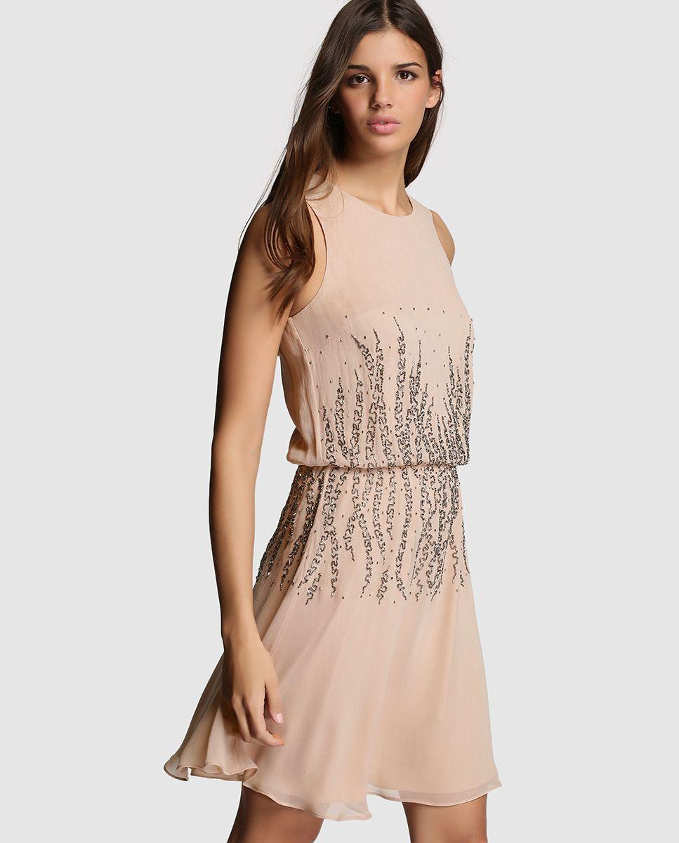 f4cd826ce6f Vestido de mujer Tintoretto nude con strass