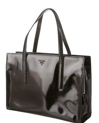07fcd50a4fa1 Prada Carolyn Bessette Kennedy Patent Leather Handbag Purse Tote ...