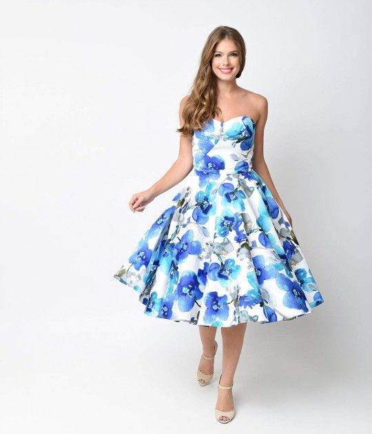 Iconic By Uv 1950s Blue Watercolor Floral June Swing Dress