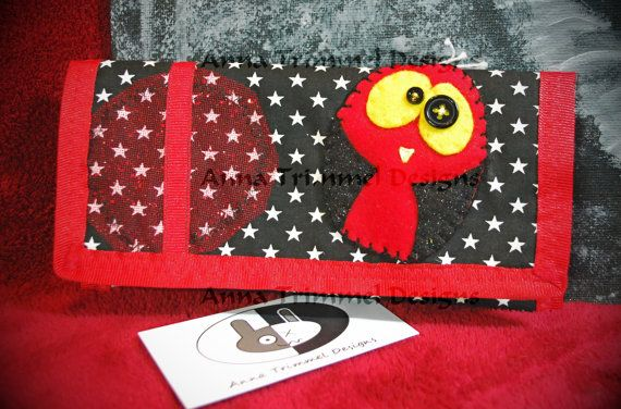 Cute handmade felt bird purse black red by annatrimmeldesigns, $17.00
