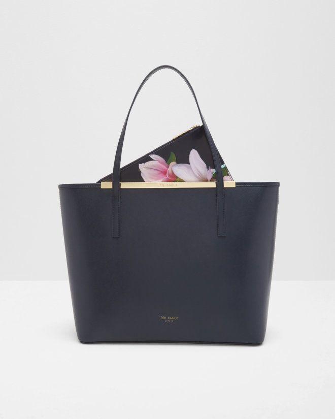 bc8ab9b7323f Ted Baker CARENNA Magnolia Stripe Leather Shopper Bag in Navy
