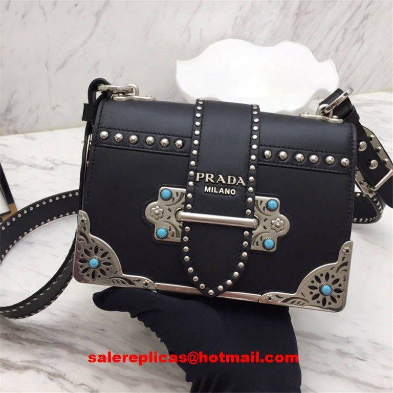 5faa625c1329 Prada cahier studded calf leather bag 1BD045 Black | Luxury Handbags ...