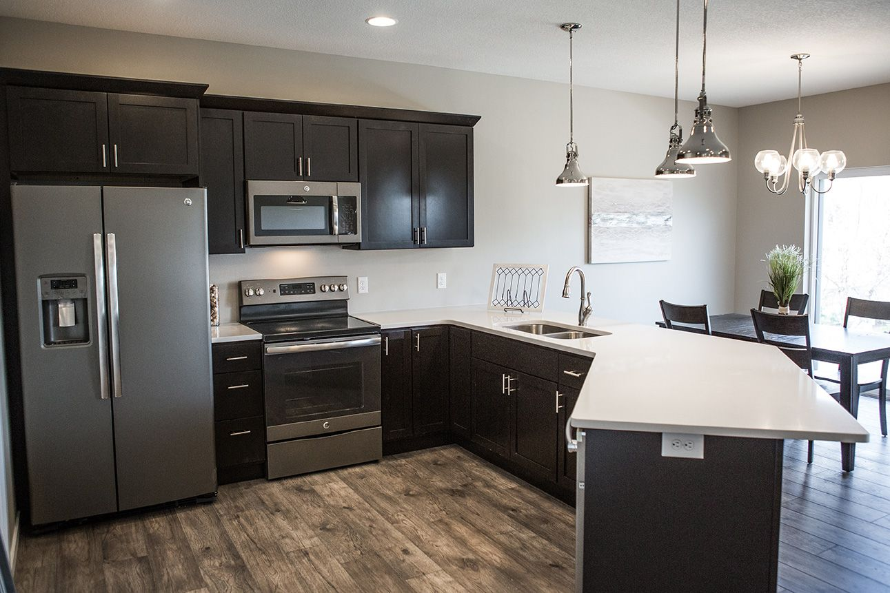 Slate Kitchen Appliances With White Cabinets