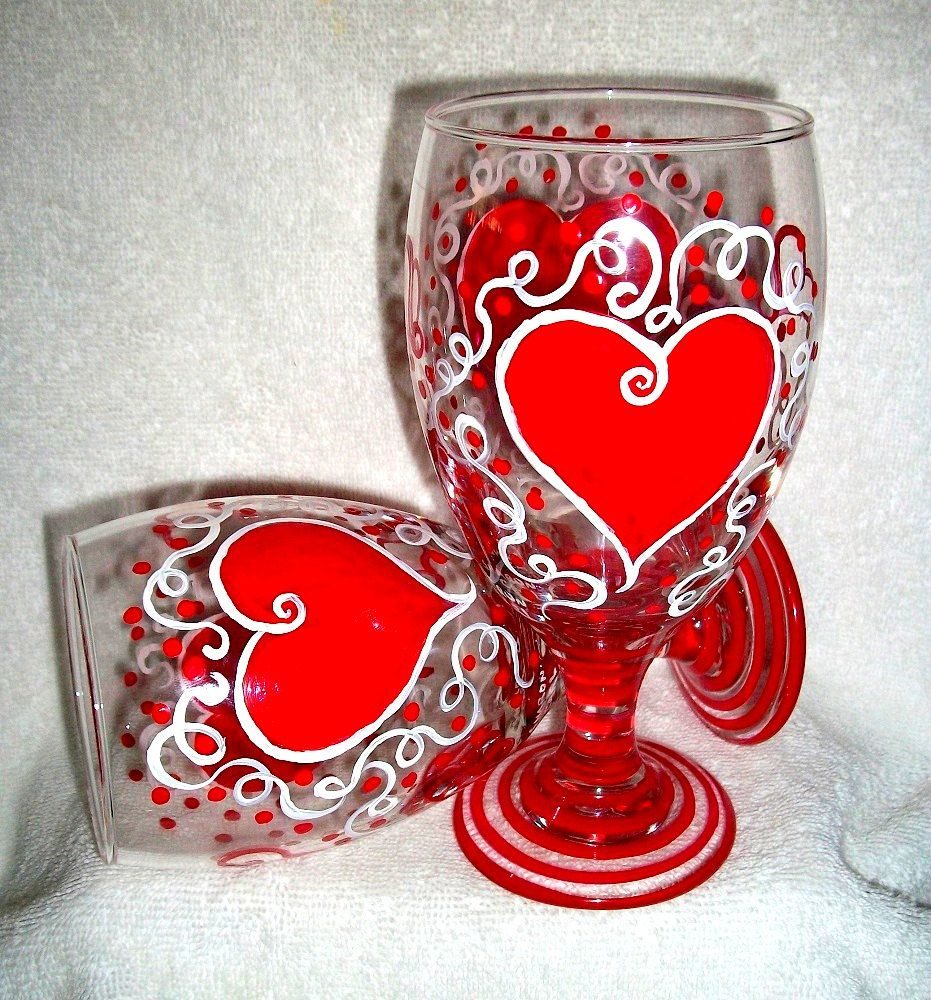 valentine painted wine glasses - Valentine Wine Glasses