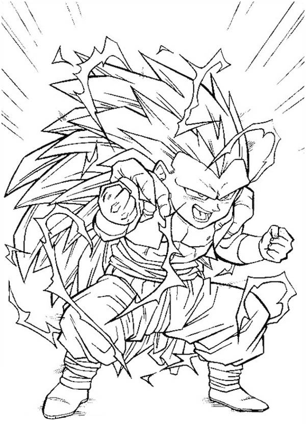 Fusion Gotenks Super Saiyan 3 Form In Dragon Ball Z Coloring Page Kids Play Color Dragon Ball Super Artwork Coloring Pages Dragon Ball Z