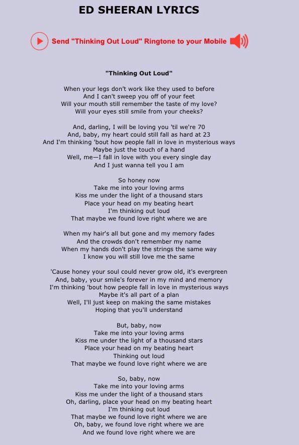 Lyric loving touching squeezing lyrics : Ed Sheeran - Thinking out loud Beautiful song | Wise Words ...