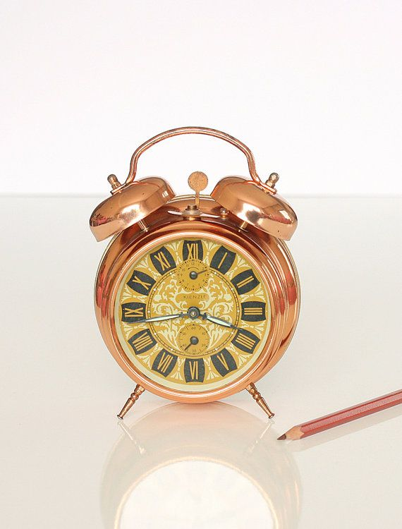Vintage alarm clock Copper wind up clock German by bluepalette