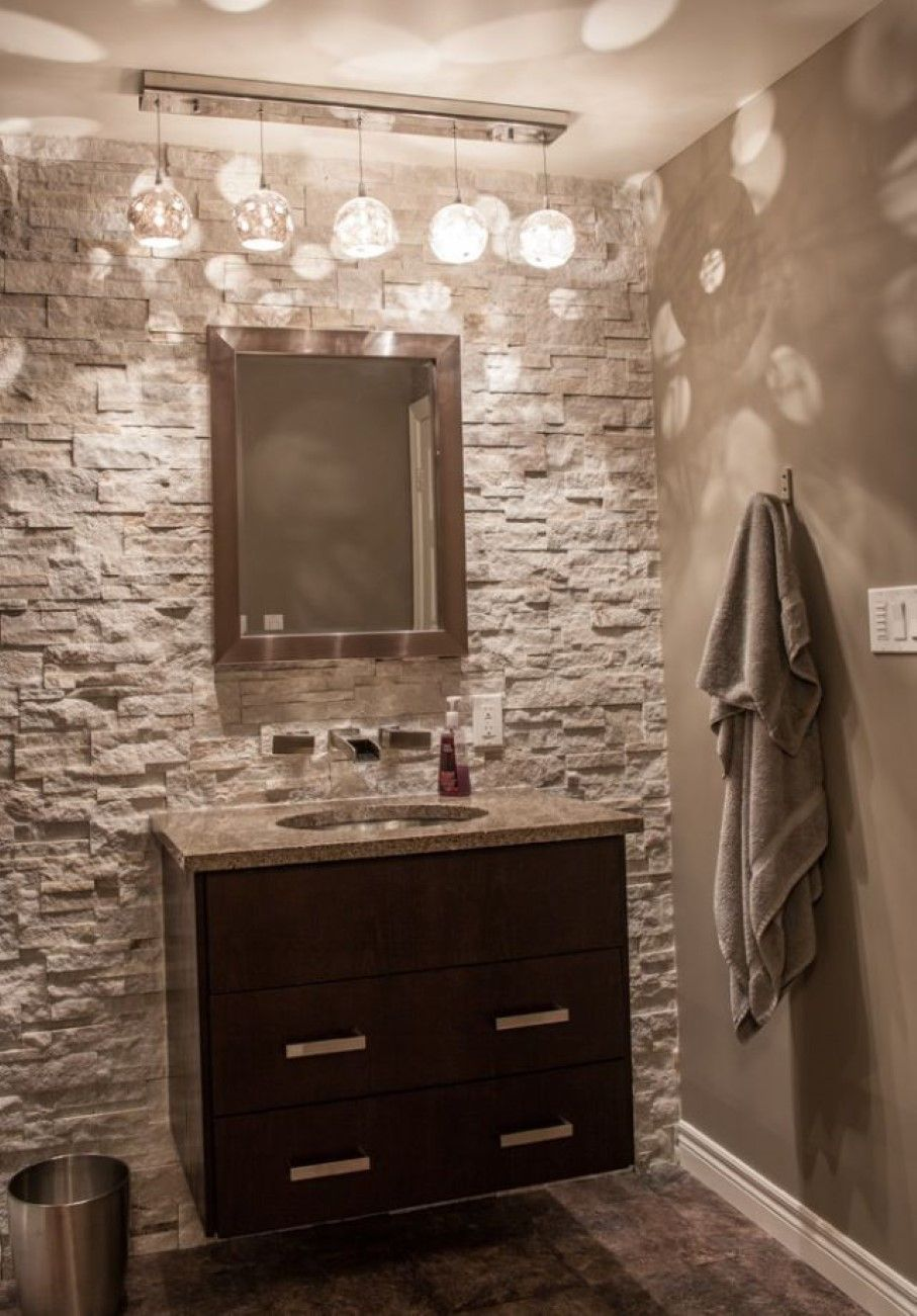 Bathroom Stunning Half Bath Idea with Stone Patterned Wall Also