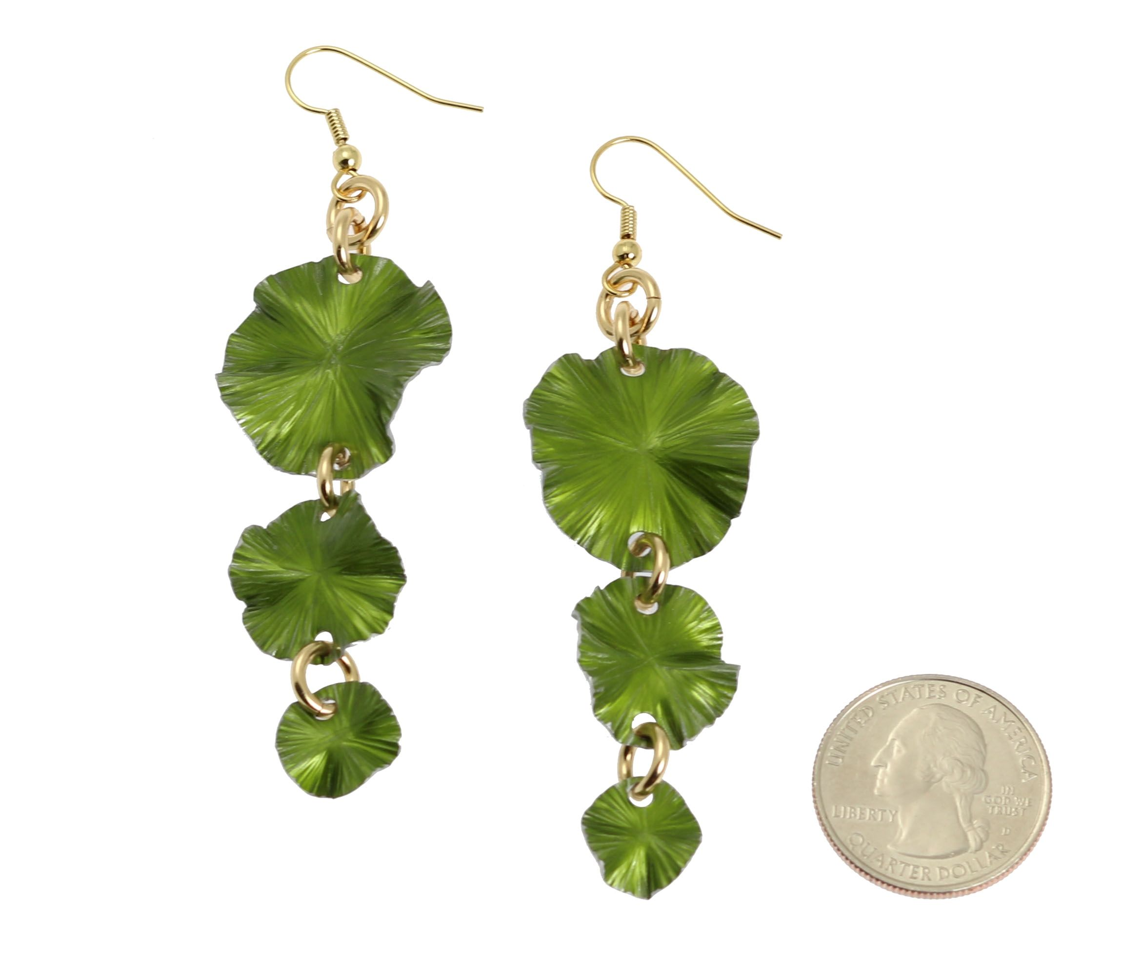 33% OFF! Striking Annodized Aluminum Lime Green Lily Pad Earrings Shown by #Amazon #Silver http://www.amazon.com/dp/B006ZC9WD8