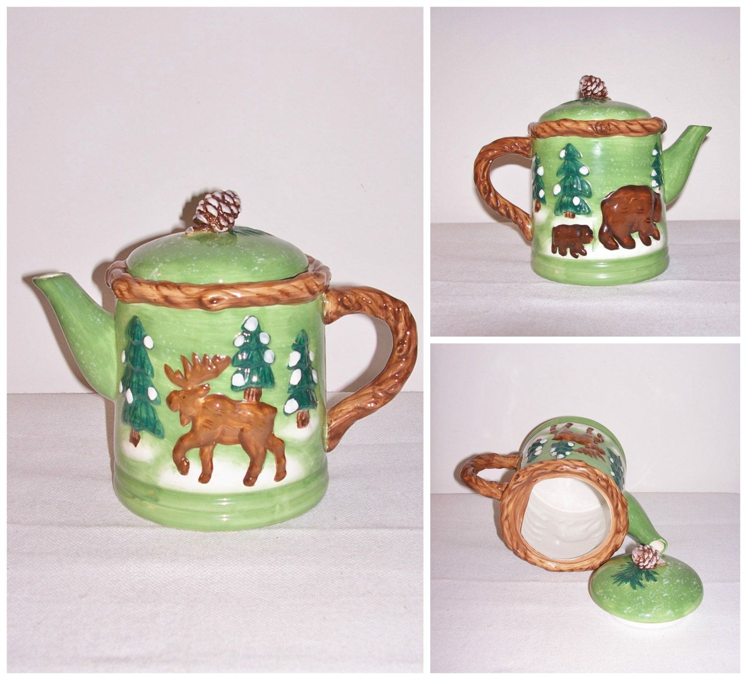 VINTAGE Christmas Teapot Painted Ceramic Winter Bear Moose Pine