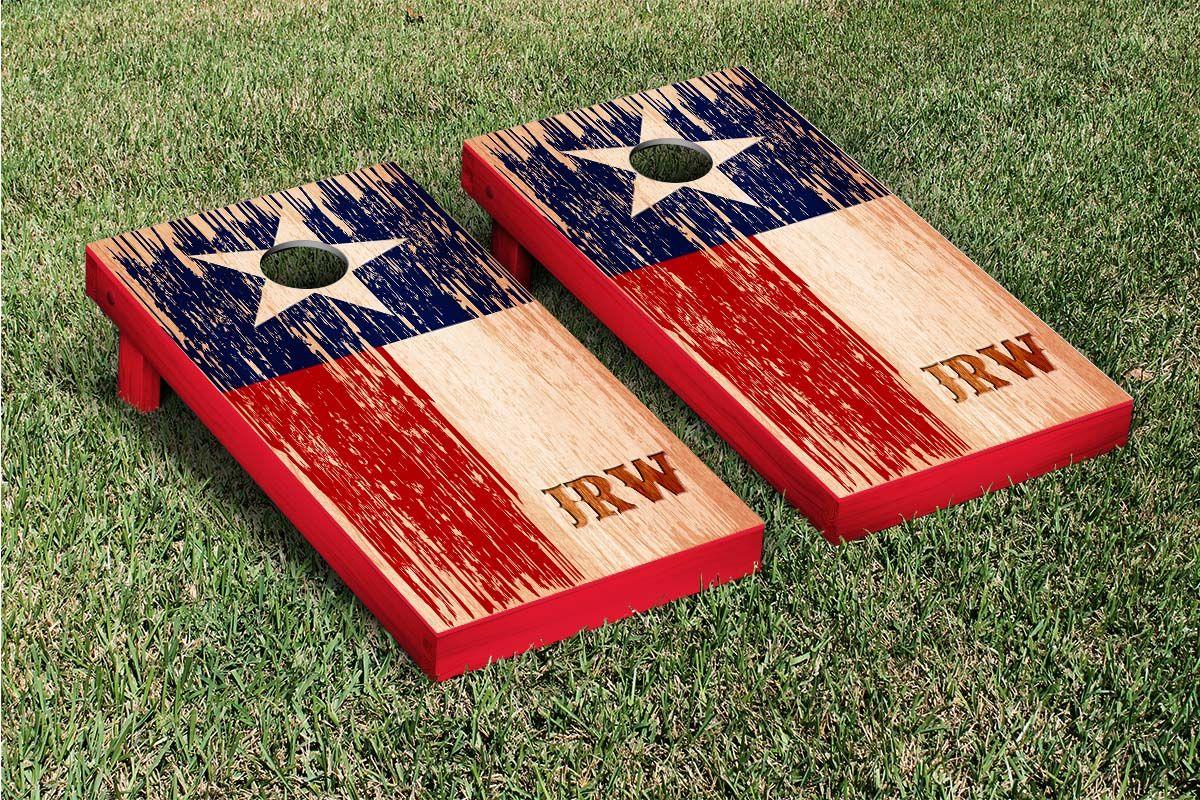 Custom Distressed Look Texas Flag Themed Cornhole Game Set