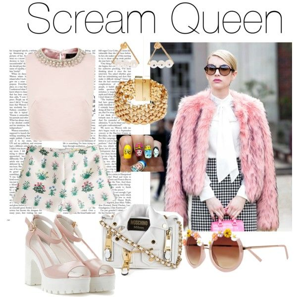 Scream queen to be. by swaggchic on Polyvore featuring polyvore, fashion, style, Ted Baker, Valentino, Moschino, GUESS and River Island