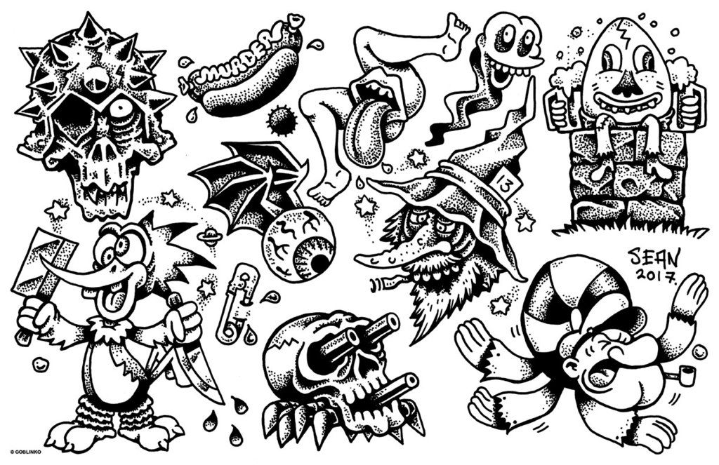 Pork Tattoo Flash Sheet 1 Tattoo Flash Sheet Flash Tattoo Dog