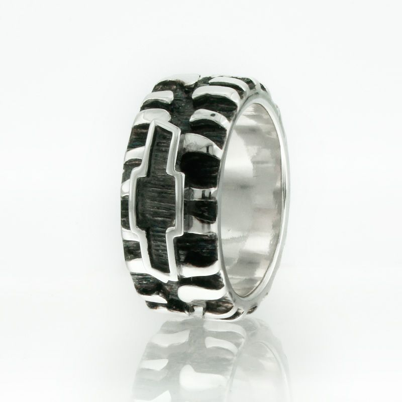 Chevy Tire Tread Band Black Silver Plated Mud Bogger Super Swamper Monster Bad Ring Bn015a