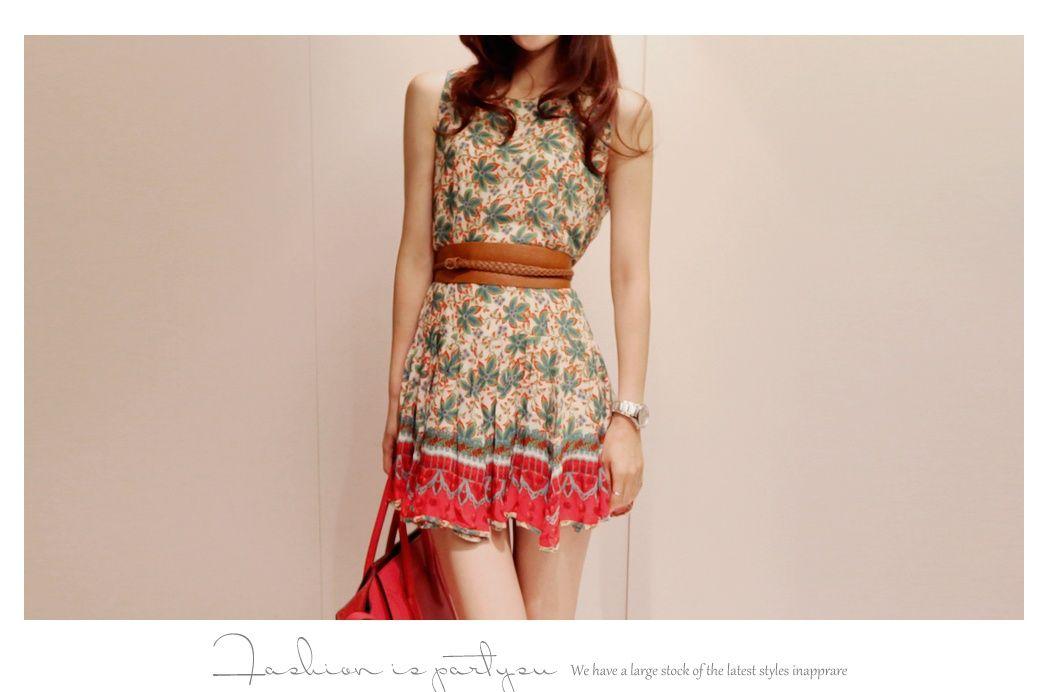 Charming Korean Style Petty Flowers Print Jumper Vintage Style Dress