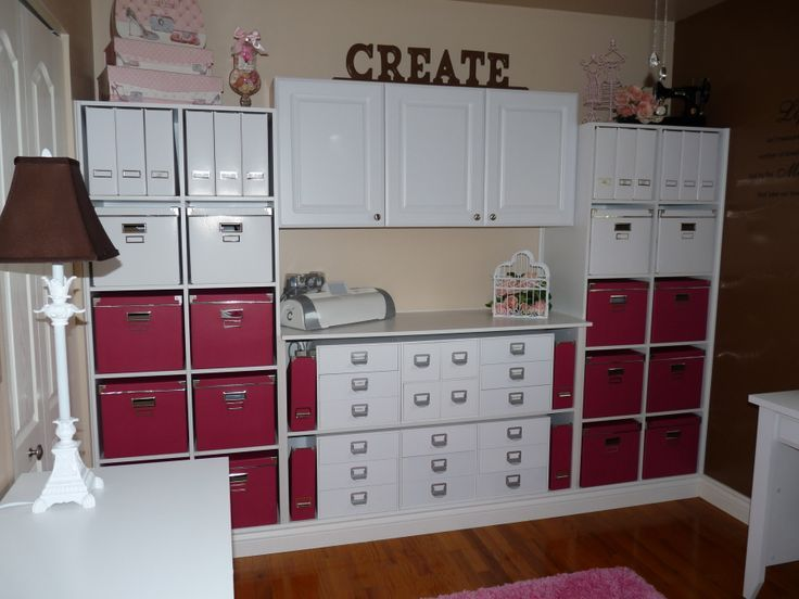 Great Wall Of Storage Using Ikea Red Bo Units Make By Her Husband