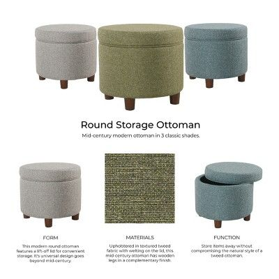 Terrific Round Storage Ottoman Green Tweed Homepop Home Accents Alphanode Cool Chair Designs And Ideas Alphanodeonline