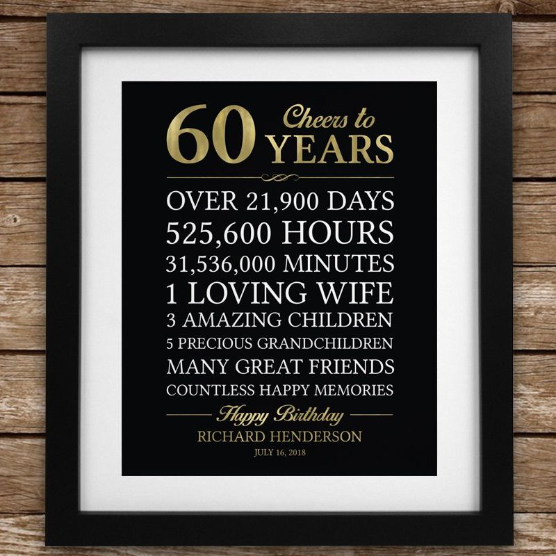 60th Birthday Gift For Man Personalized Dad Stats Printable Custom Colors