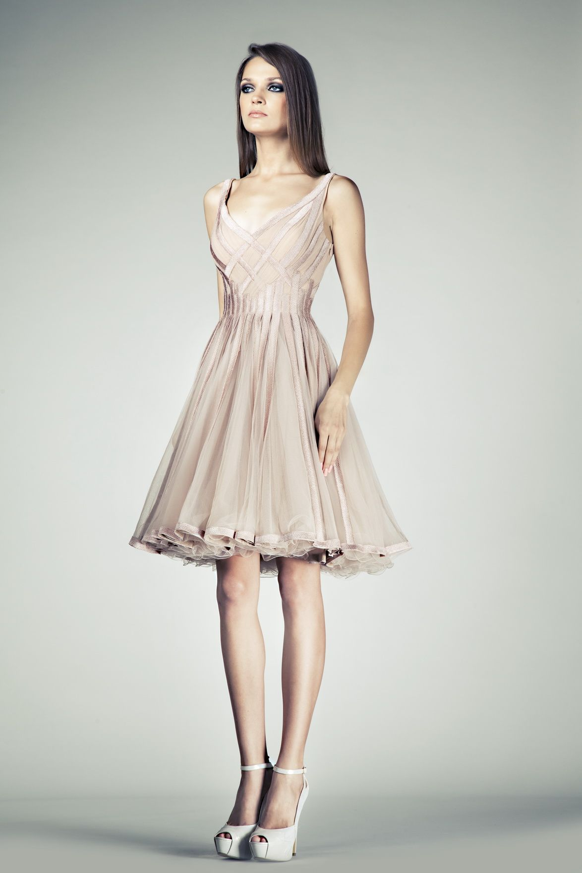 Tony Ward RTW SS14 I Style 12 I Cocktail dress made of Blush Tulle, embellished with interlaced lines of embroidered Silk band appliques