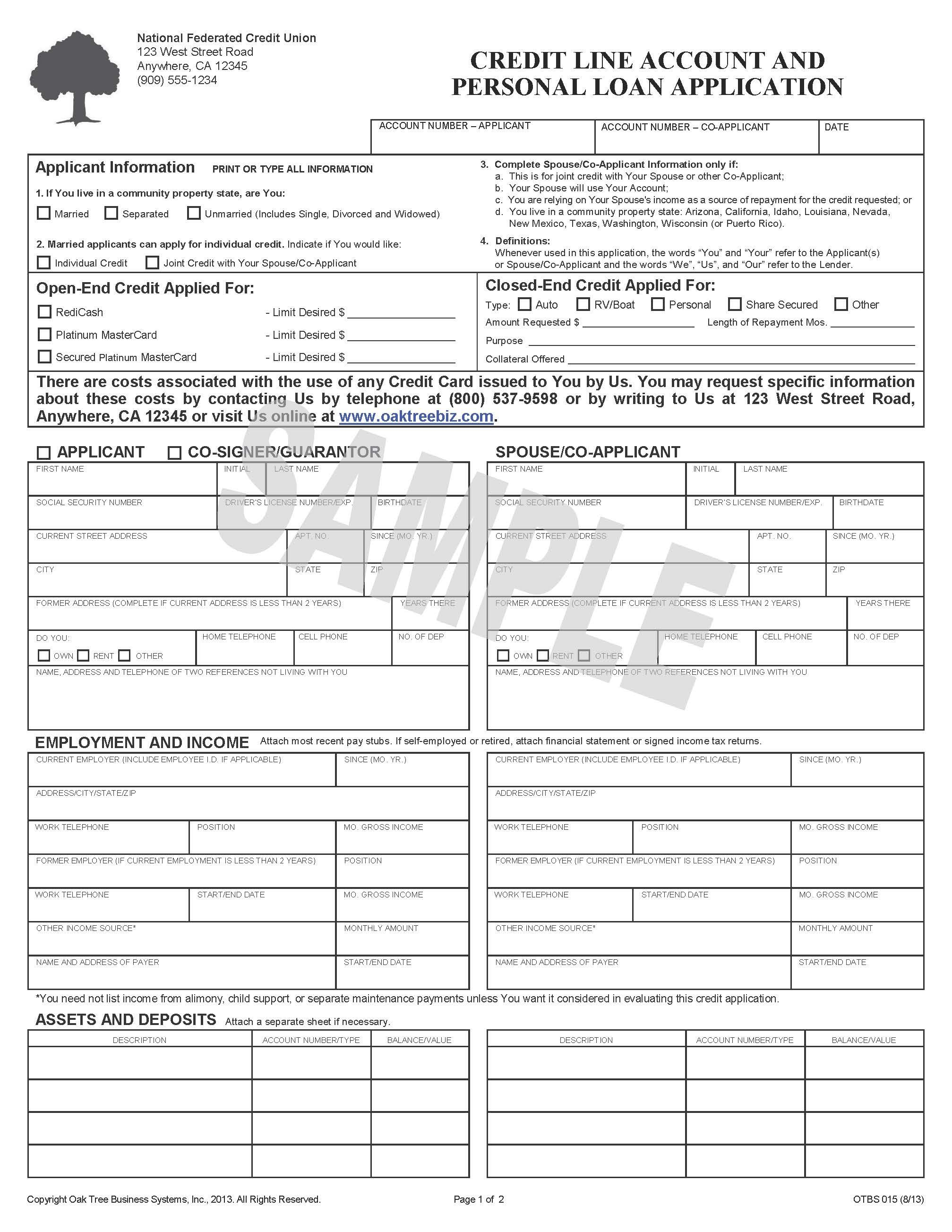 Consumer Loan Application Credit Union Form  Http://www.oaktreebiz.com/products Services/consumer Lending Forms  #oaktreeforms #credituniondocuments ...