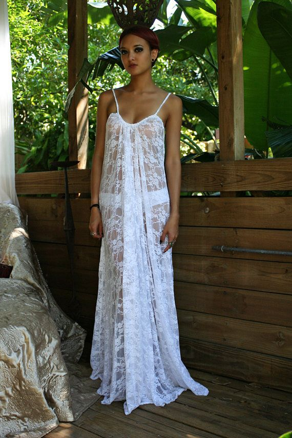ad16a4dd3 White Lace Convertible Bridal Nightgown Wedding by SarafinaDreams ...
