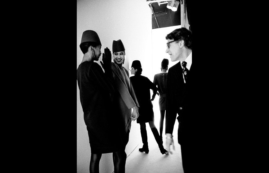 1989 - YSL & models backstage by Gerard Musy