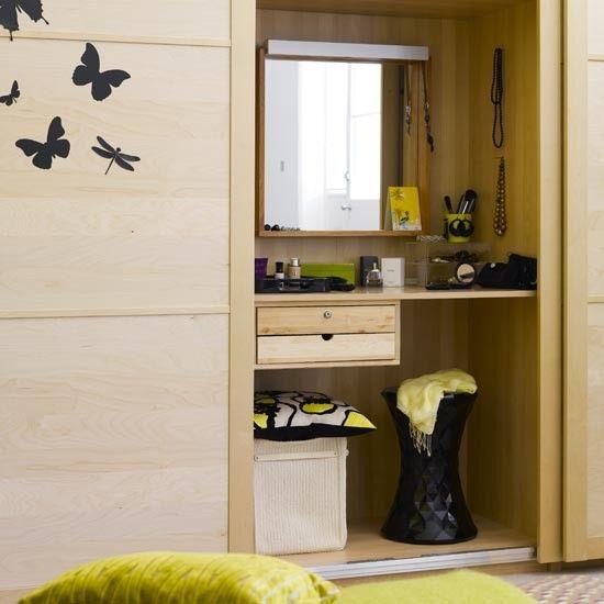 Built in dressing table behind sliding doors   Sliding wardrobe door ideas    Bedroom. Merle Cream Table Lamp   Vanity units  Sliding doors and Vanities