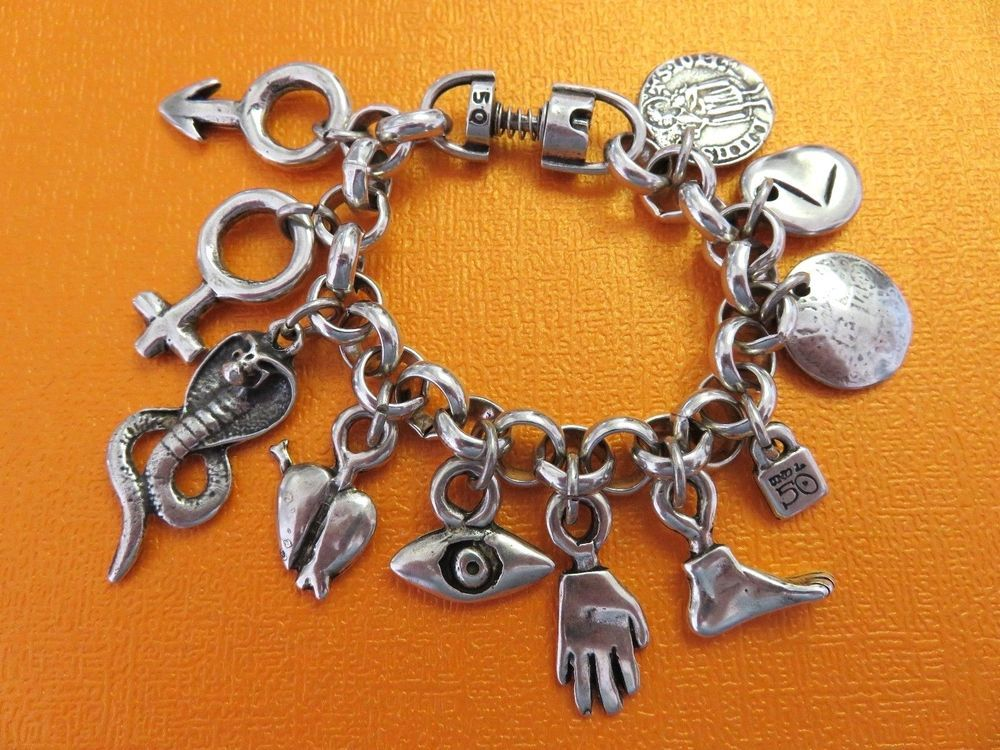 37ede5f8994fb AWESOME silver milagros charm bracelet, made in SPAIN by UNO de 50 ...