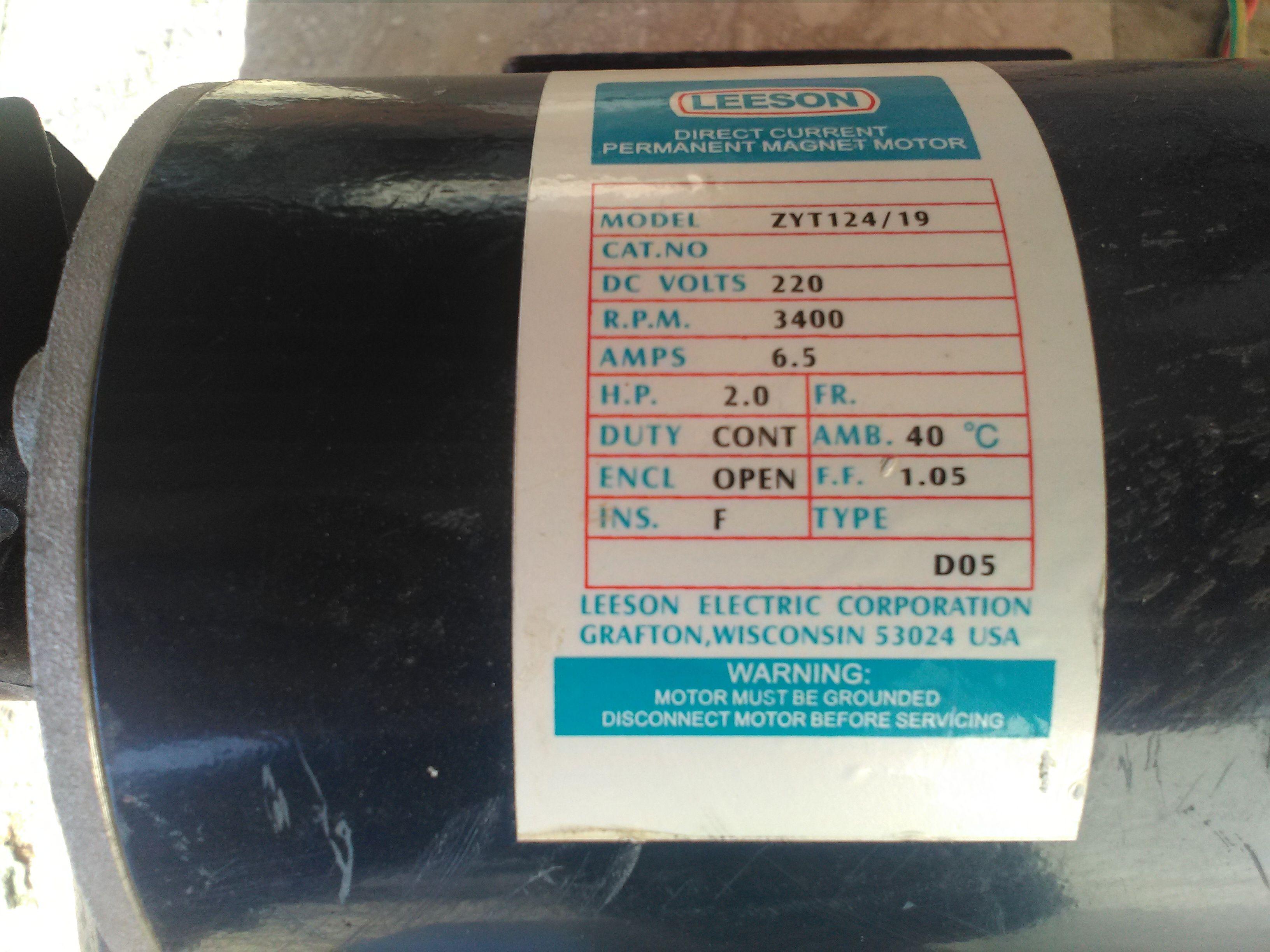 leeson zyt124 19 permanent magnet motor [ 3264 x 2448 Pixel ]