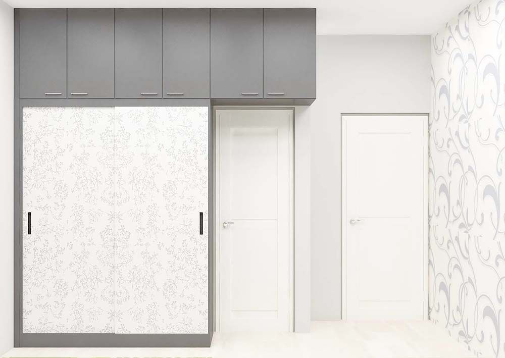 2 sliding door modular wardrobe with loft made up of for Door design laminate