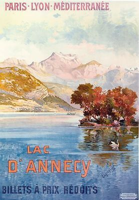 Vintage French Lac D/'Annecy Travel Poster A3//A2//A1 Print